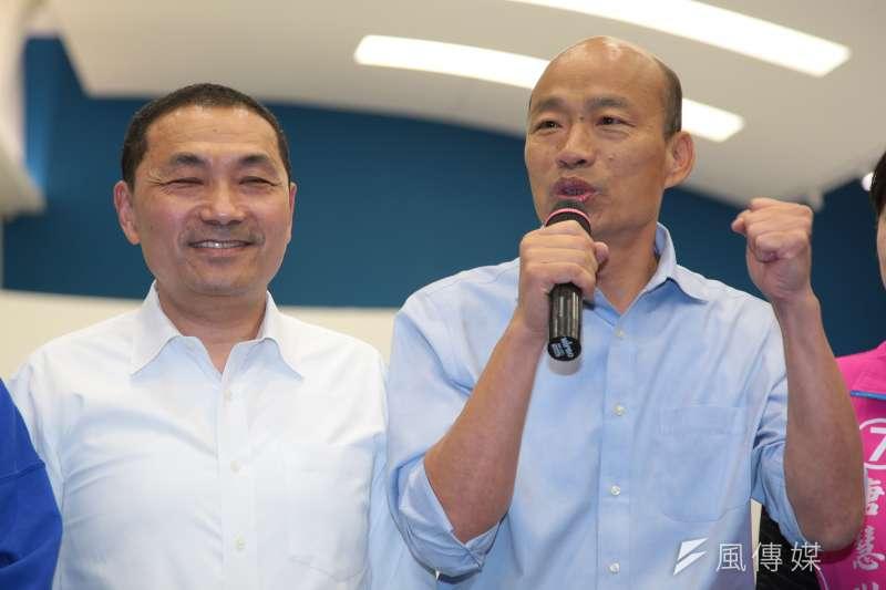 財信傳媒董事長謝金河認為,與網路聲量大的高雄市長韓國瑜(右)相比,新北市長侯友宜(左)是「寧靜的耕耘者」,在走不一樣的路。(資料照,顏麟宇攝)