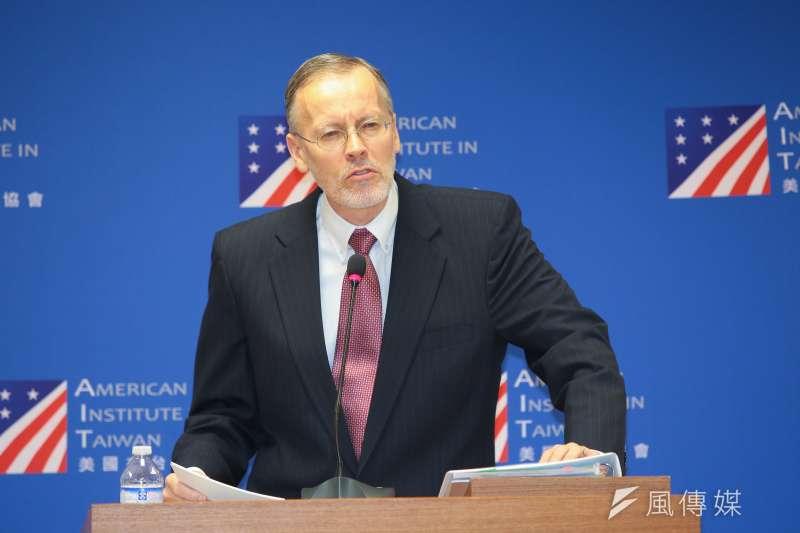 AIT美國在台協會處長酈英傑31日召開記者見面會。(顏麟宇攝)