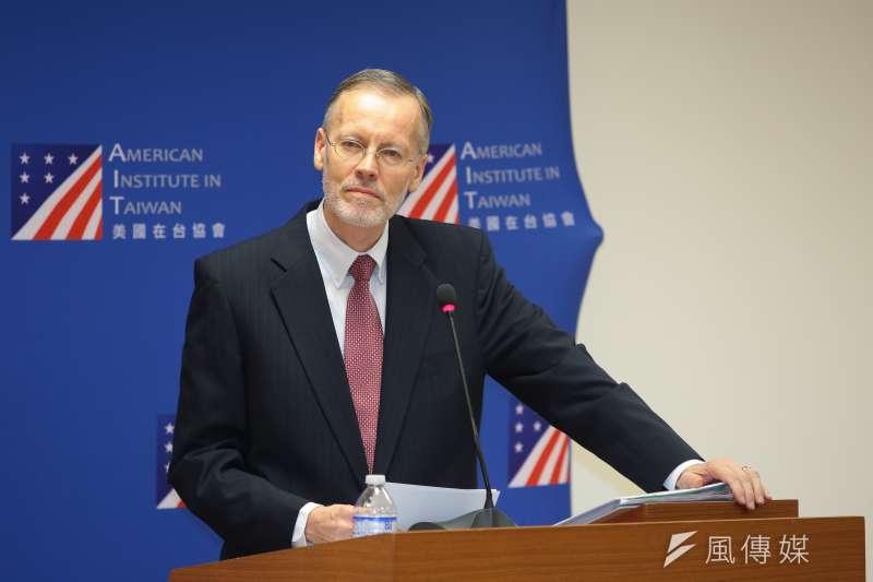 美國在台協會(AIT)台北辦事處處長酈英傑首度舉行記者會。(顏麟宇攝)
