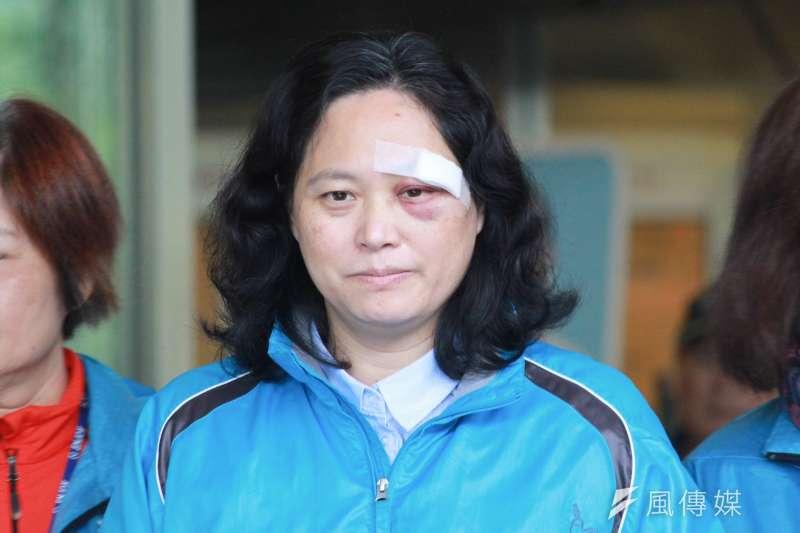台北市勞動局長賴香伶日前遭勞運人士李明彥持鋼筋攻擊。(方炳超攝)