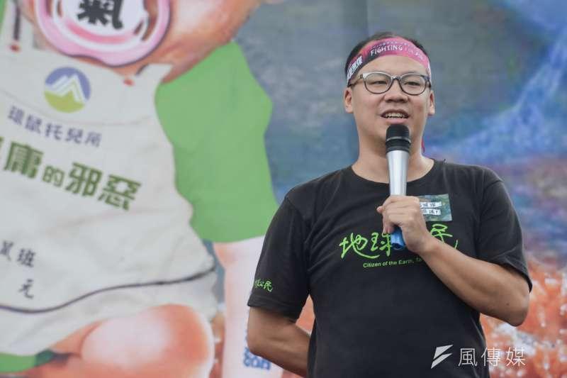 20181103-反空污大遊行,地球公民基金會副執行長蔡中岳。(甘岱民攝)