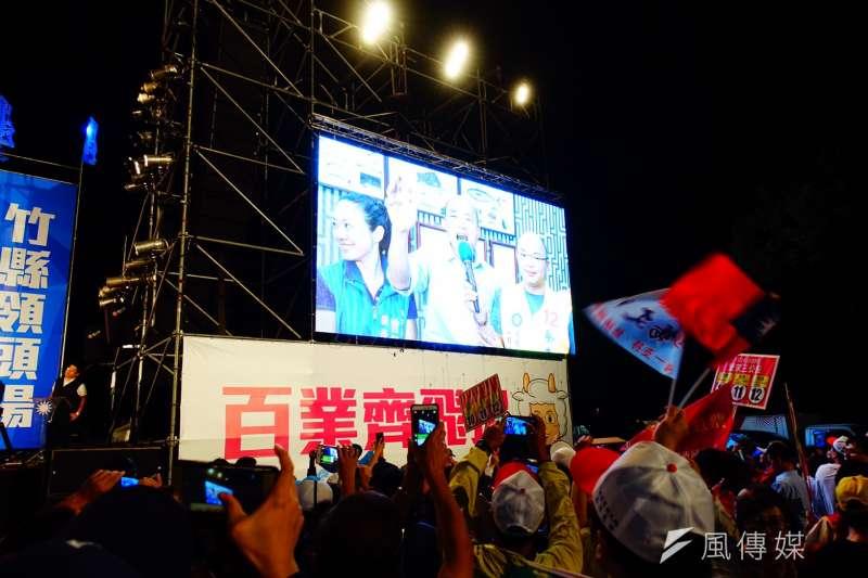 國民黨高雄市長候選人韓國瑜的「人氣」非虛,連「桃竹竹苗大會師」都能視訊連線為活動加持。(羅暐智攝)