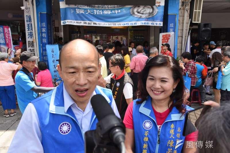 韓國瑜(圖左)表示自己最感謝的是第一個與他成立聯合競選服務處的陳若翠。(圖/徐炳文攝)