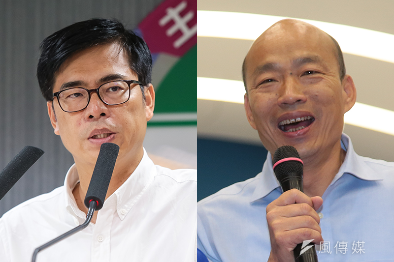 高雄市長熱戰,陳其邁、+ 韓國瑜兩位候選人上演拔樁大戰。(顏麟宇攝)