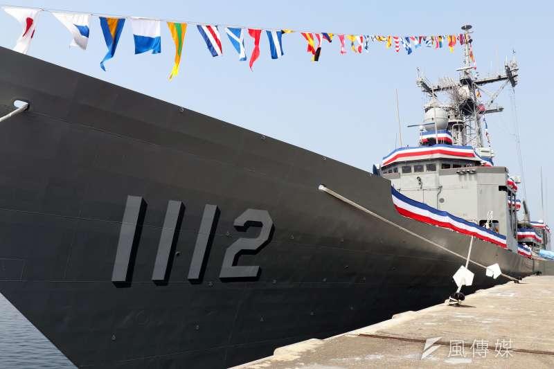 海軍兩艘派里級「銘傳」、「逢甲」軍艦8日上午在高雄左營舉行成軍典禮。圖為銘傳軍艦(PFG-1112)。(蘇仲泓攝)