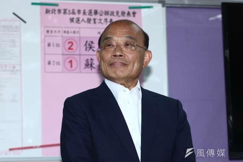 20181112-新北市第三屆市長選舉公辦電視政見發表會。蘇貞昌會後訪問。(蔡親傑攝)