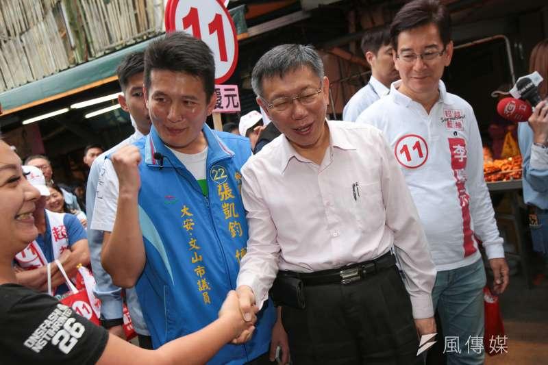 20181114-台北市長柯文哲14日至景美市場掃街拜票。(顏麟宇攝)
