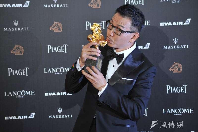 第55屆金馬獎最佳男配角由《翠絲》的袁富華奪下,片中精彩演繹擁有女人靈魂的打鈴哥,獲得肯定。(甘岱民攝)