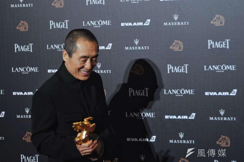 第55屆金馬獎17日在台獨言論的火藥味中落幕,拿下多項大獎的電影《影》雖然照常舉行慶功宴,但卻拒絕媒體採訪,還將窗簾拉下。(甘岱民攝)
