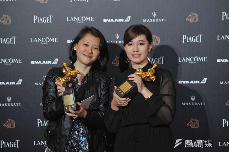 第55屆金馬獎,最佳紀錄片《我們的青春,在台灣》導演傅榆(右)領獎時說「希望我們的國家能被當作獨立的個體」,而後中國影人也紛紛表態(資料照,甘岱民攝)