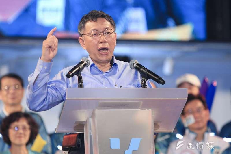 爭取連任市長的台北市長柯文哲11日在北門造勢運動中演講。(簡必丞攝)