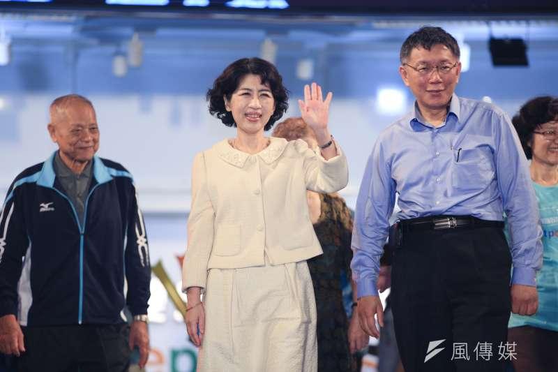 台北市長柯文哲妻子陳佩琪19日在臉書發文,暗民進黨是加害者,而柯文哲則是政治受虐兒。(資料照,簡必丞攝)