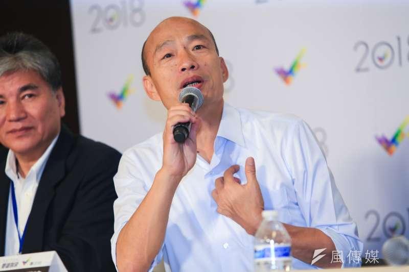 國民黨高雄市長候選人韓國瑜辯論會訴求感情。(簡必丞攝)