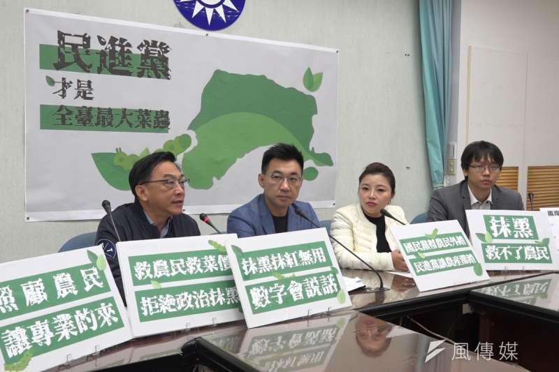 國民黨立院黨團21日上午舉行「救救農漁民,民進黨已成台灣最大菜蟲」,直批蔡英文政府害慘農民。(羅暐智攝)