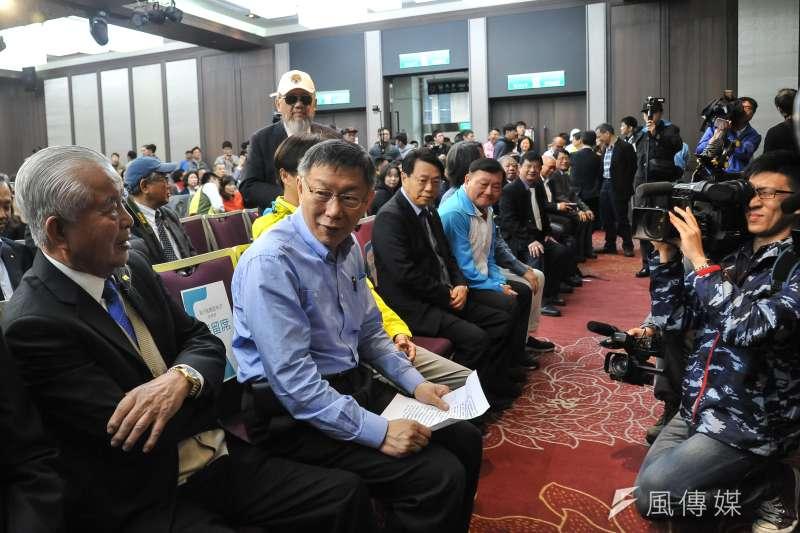 20181122-台北市長柯文哲出席各行各業挺柯P記者會。(甘岱民攝)