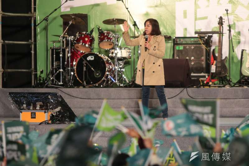 20181123-余莓莓23日出席民進黨台北市長候選人姚文智「國家首都勝選之夜」晚會。(顏麟宇攝)