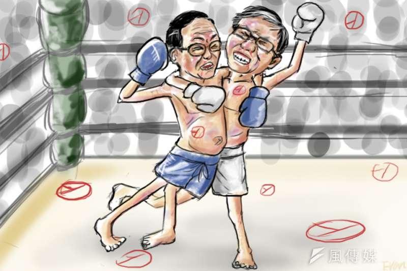 九合一選舉,台北市長候選人柯文哲與丁守中纏鬥到最後一刻。(繪圖:鄭力瑋)