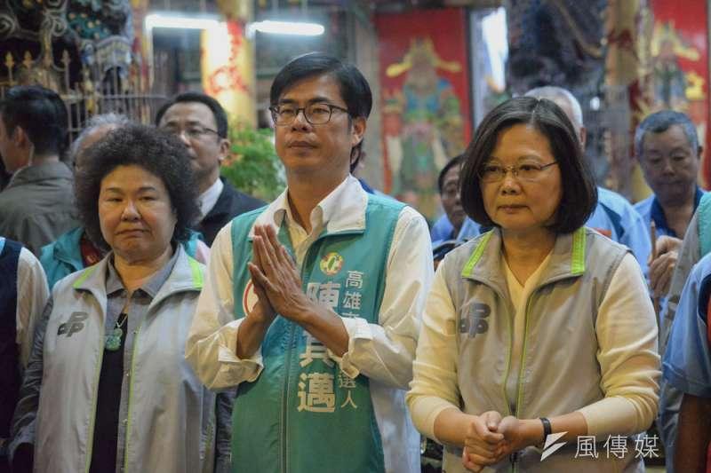 高雄敗選重創了陳菊(左)的政治實力。(甘岱民攝)