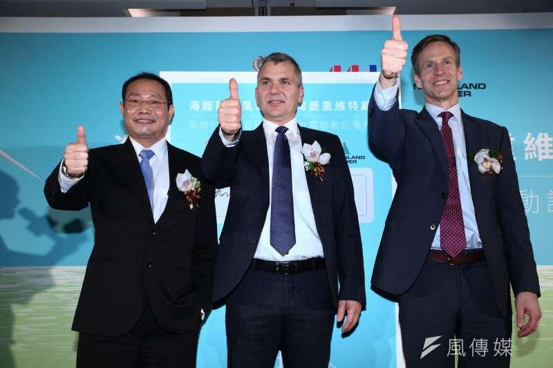 20181127-經濟部長沈榮津出席「NPI&MVOW(海龍離岸風電&菱重維特斯)風機供應備忘錄簽署」記者會。(蔡親傑攝)