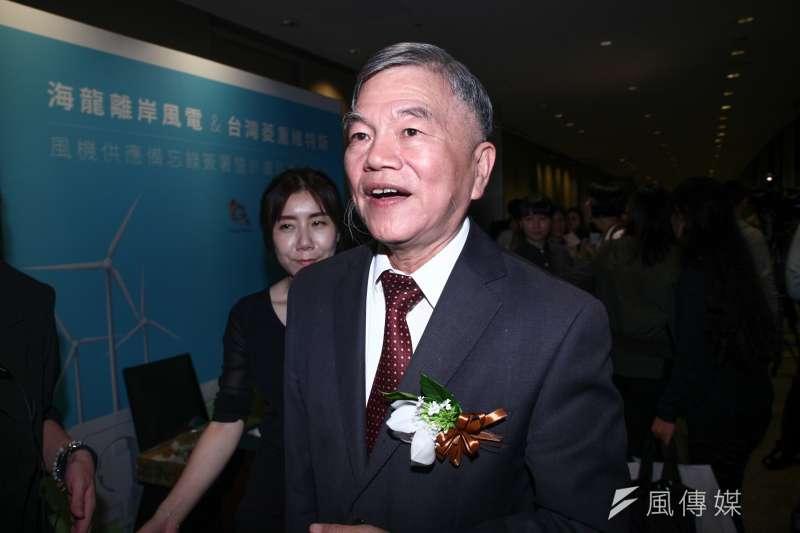 經濟部長沈榮津27日出席離岸風電記者會,表示這次公投結果與綠能政策無關,一定會繼續推。(蔡親傑攝)