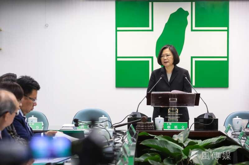 總統蔡英文28日於民進黨中常會發表辭卸黨主席談話。(顏麟宇攝)