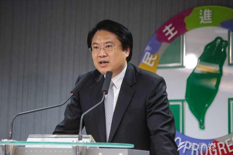 20181128-民進黨代理黨主席林右昌28日出席中常會後記者會。(顏麟宇攝)