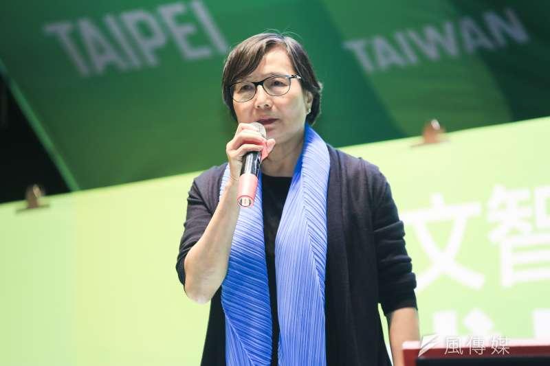 20181130-總統府資政葉菊蘭指出,民進黨不是沒有輸過,姚文智這次展現了氣魄,輸了選舉,但沒有輸掉尊嚴。(簡必丞攝)