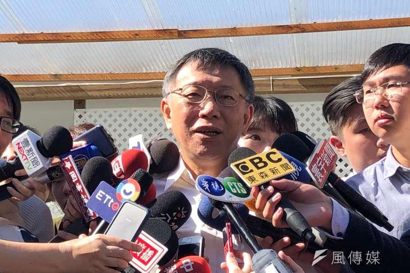 台北市長柯文哲30日上午出席士林官邸菊展開幕記者會。(方炳超攝)