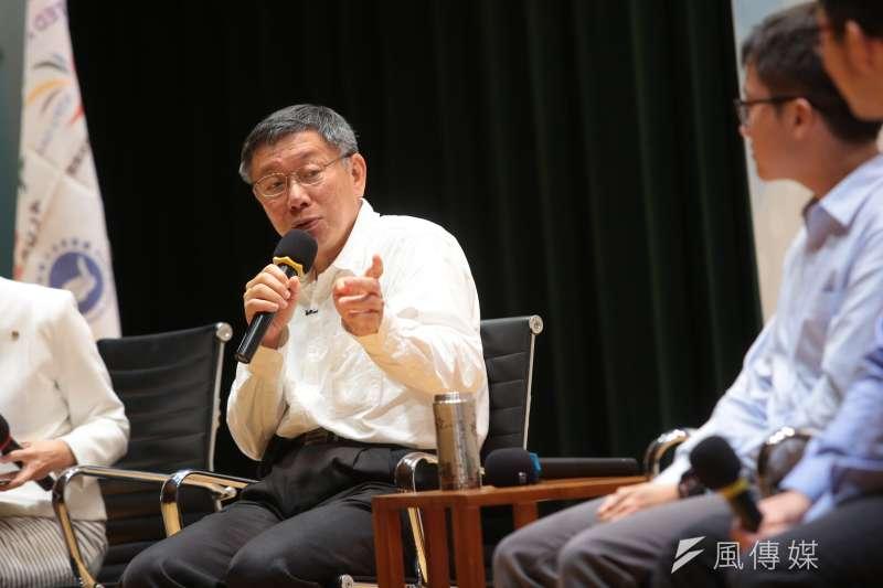 台北市長柯文哲到世新大學演講,大談債務問題。(資料照片,顏麟宇攝)