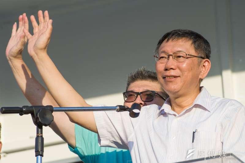 被問到白綠合作,台北市長柯文哲11日上午受訪時表示,民進黨是部落政治,一人一把號,每個人吹每個人的。(資料照,甘岱民攝)
