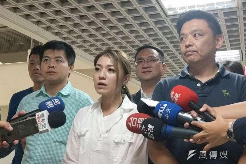 民進黨台北市議員洪健益提出連署,希望推薦顏若芳角逐北市立委補選。(方炳超攝)