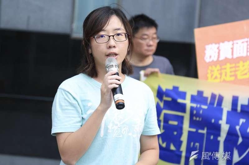 20181206-環境法律專員謝蓓宜6日出席環境法律人協會「安全至上 如期除役」記者會。(簡必丞攝)