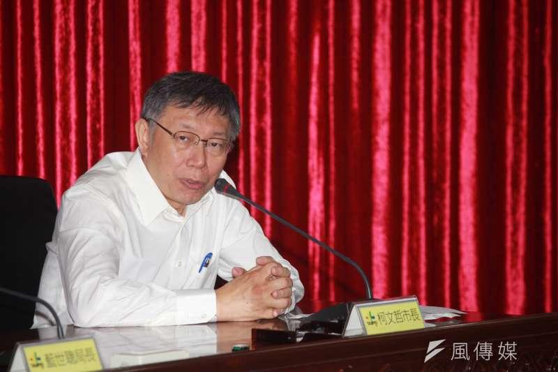 台北市長柯文哲到世新大學演講時談及反同婚公投爭議。(資料照片,方炳超攝)