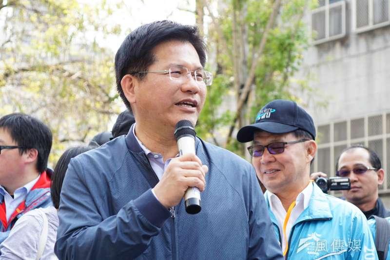 前台中市長林佳龍(見圖)批評前立委沈智慧,「連在地河川經過哪裡搞不清楚,真的會變成台中人的笑話。」(資料照,盧逸峰攝)