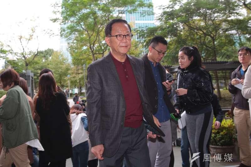 20181211-國民黨台北市長候選人丁守中11日至台北市選委會來感謝律師團的辛勞,並針對接下來的訴訟方向發表談話。(顏麟宇攝)