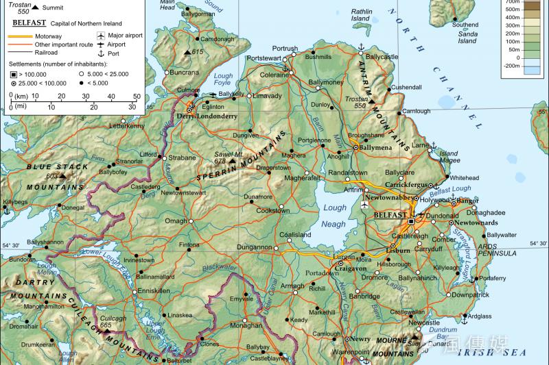 英國領土北愛爾蘭與歐盟成員國愛爾蘭的邊界,成為英國脫歐進程最棘手的議題(Andrein@Wikipedia / CC BY-SA 3.0)