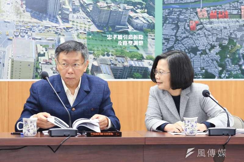 總統蔡英文13日下午2時與台北市長柯文哲會面。(簡必丞攝)