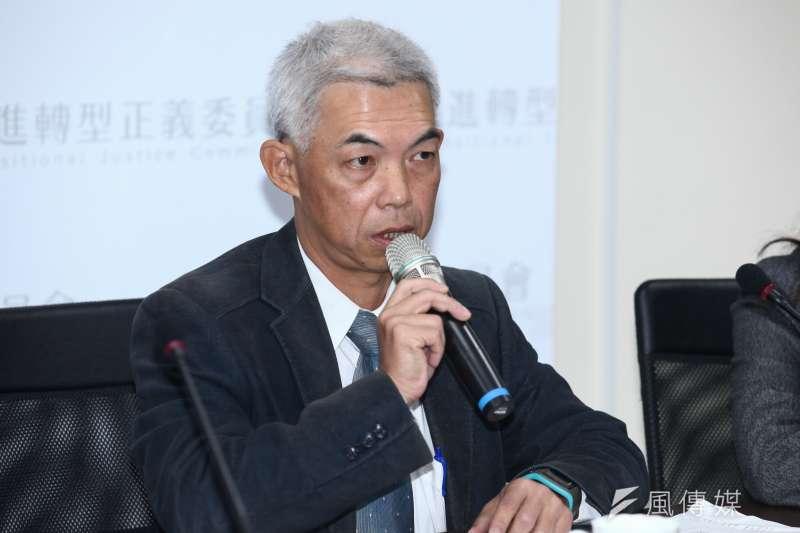20181217-「促進轉型正義委員會半年任務進度報告」記者會。圖為尤伯祥委員。(蔡親傑攝)