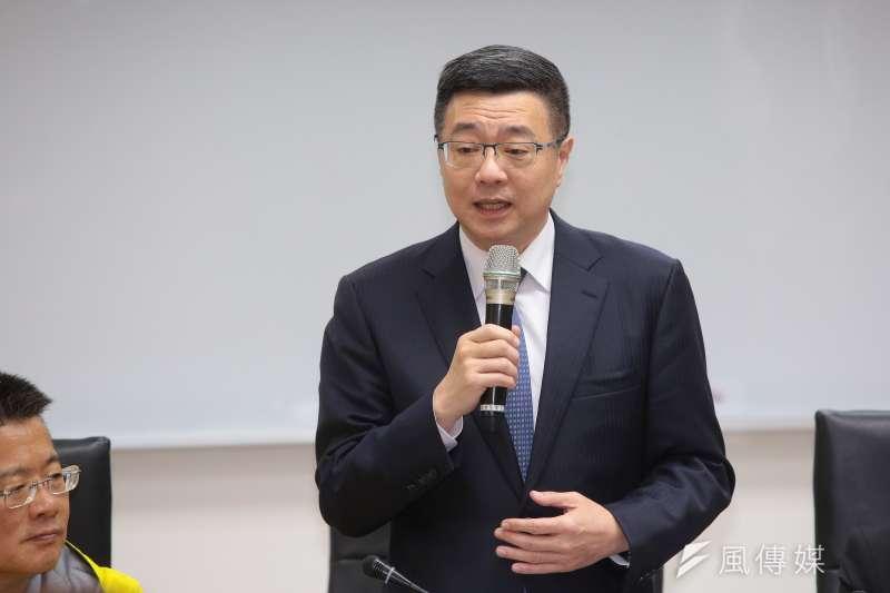 20181218-民進黨主席候選人卓榮泰18日拜會新北市議會民進黨黨團。(顏麟宇攝)