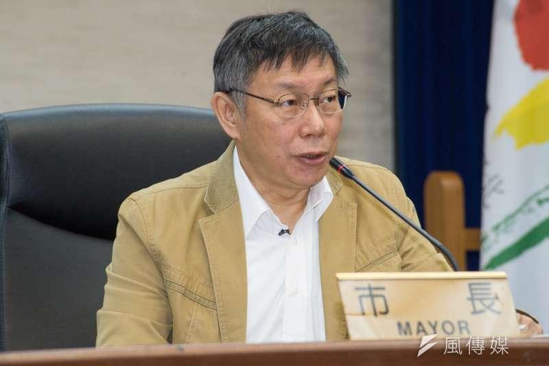 機車停車格全面收費,媒體詢問會不會擔心反彈,台北市長柯文哲說「不會」,他學會政策不要一下子全面推廣,否則常會踢鐵板,會分區、分期處理。(資料照,甘岱民攝)