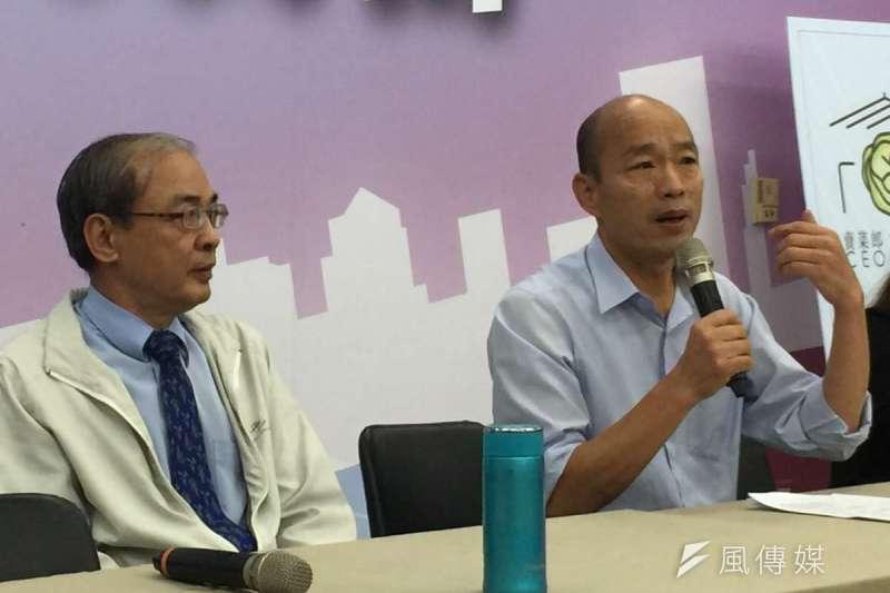 準高雄市長韓國瑜(右)昨在座談會拋出賽馬產業鏈的構想。圖為韓國瑜昨出席另一場記者會。(資料照,徐炳文攝)