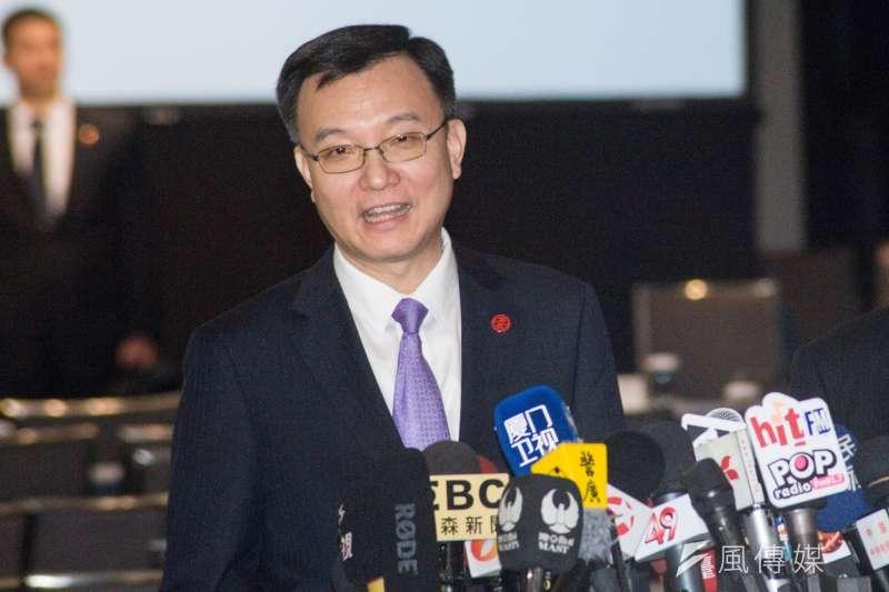 台北上海雙城論壇20登場,上海市常務副市長周波接受媒體聯訪時,重申對兩岸關係和平發展,九二共識是政治基礎,也是兩岸城市交流的正確的認知;只要對兩岸關係有正確的認知,他們是願意和台灣更多的縣市開展合作。(甘岱民攝)