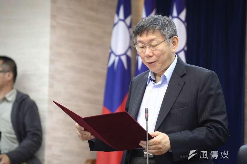 唐湘龍批評,柯文哲(見圖)在北市執政4年沒有什麼政績,若柯真的當選總統,「那台灣的災難,就會從台北市擴大到全台灣。」(資料照,陳品佑攝)
