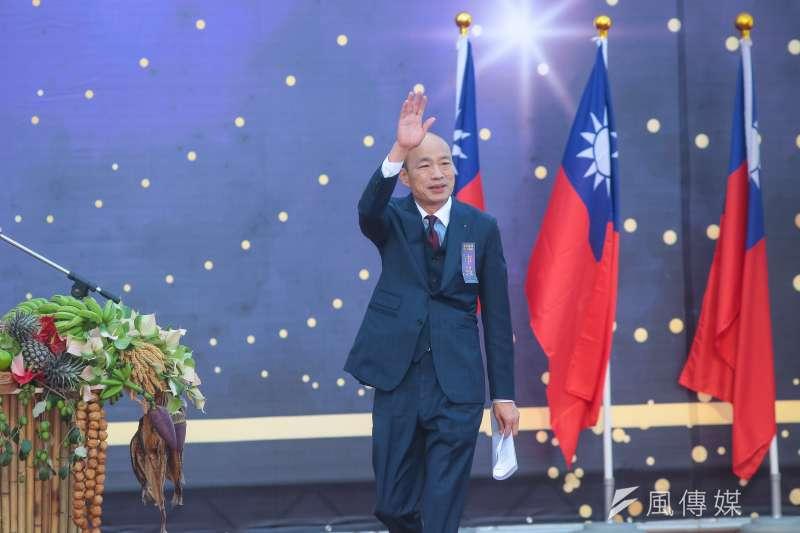 高雄市長韓國瑜的勝選不是國民黨的勝利而是中華民國的勝利。圖為韓國瑜於愛河畔舉行宣誓就職暨交接典禮。(顏麟宇攝)