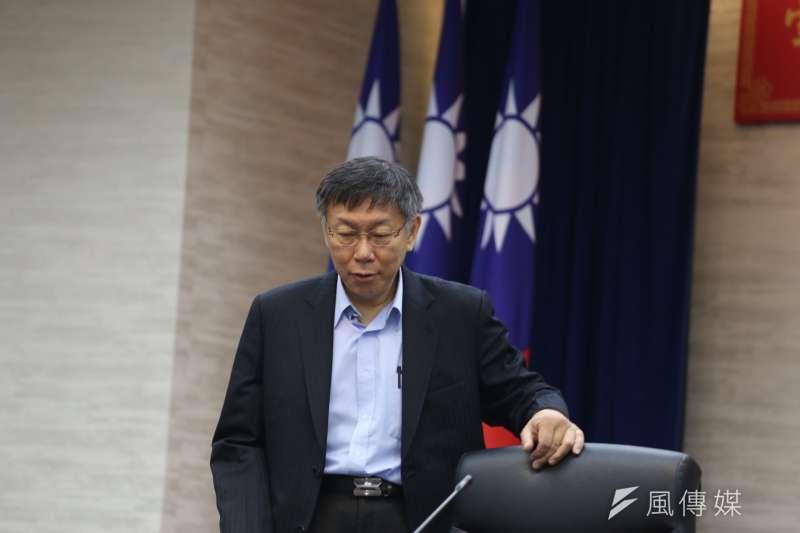 台北市長柯文哲25日上午進行第二任期宣誓就職典禮,全程僅花費4分鐘。(陳品佑攝)