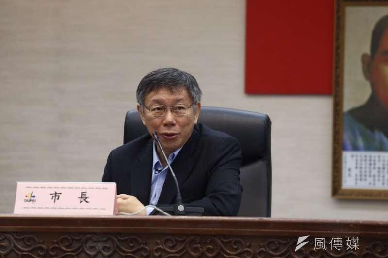 台北市長柯文哲25日上午進行第二任期宣誓就職典禮,全程僅花費4分鐘,柯文哲致詞時僅講出「我們就努力工作」。(ˊ陳品佑攝)