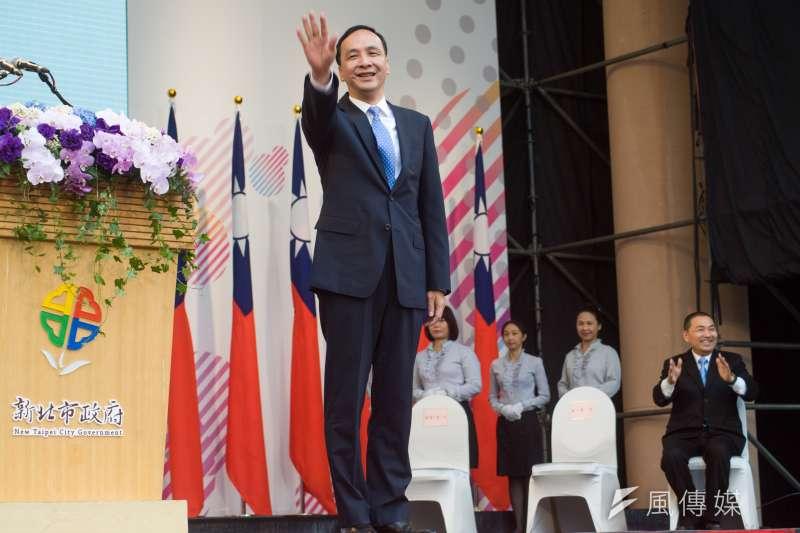 20181225-卸任新北市長朱立倫25日出席新任新北市長侯友宜的就職交接典禮。(甘岱民攝)