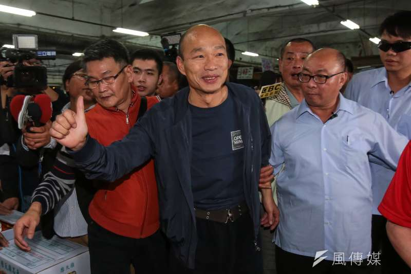 20181226-高雄市長韓國瑜26日至高雄市十全果菜市場,向攤商致意打氣。(顏麟宇攝)