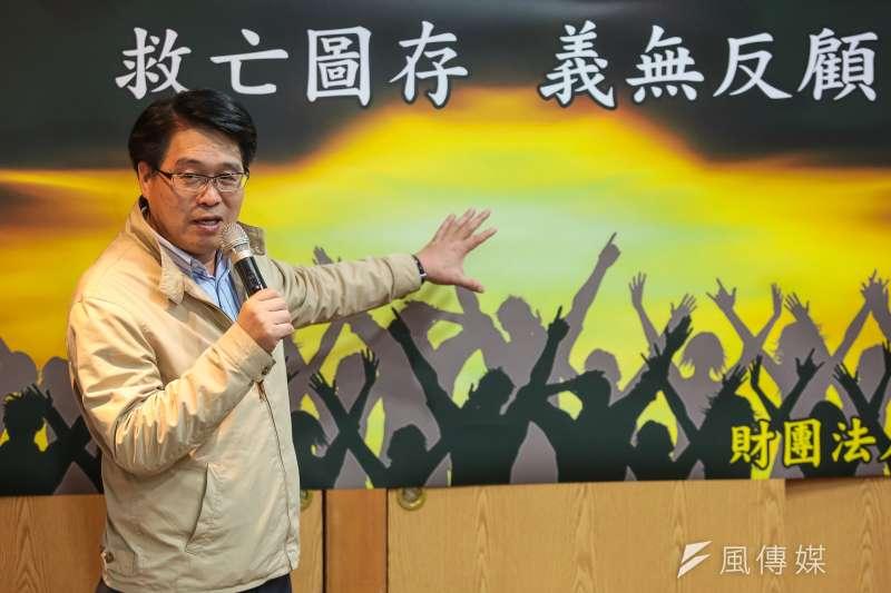 20181227-民進黨主席候選人游盈隆27日舉行座談與記者茶敘。(顏麟宇攝)