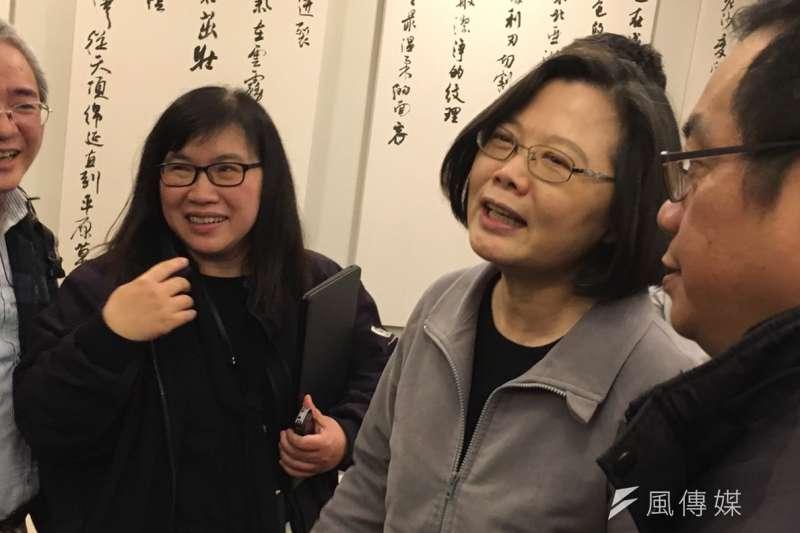 20181228-總統蔡英文與媒體年終茶敘。(顏振凱攝)